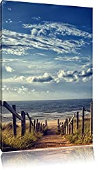 Weg zum Strand am Meer, Format: 120x80 auf Leinwand, XXL riesige Bilder fertig gerahmt mit Keilrahmen, Kunstdruck auf Wandbild mit Rahmen, günstiger als Gemälde oder Ölbild, kein Poster oder Plakat