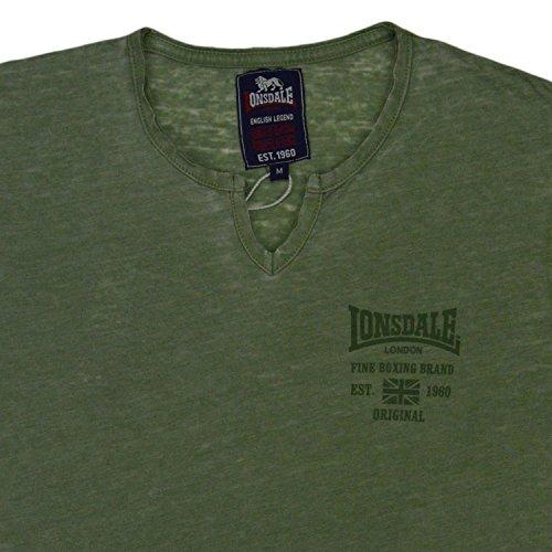 T-Shirt MM Lonsdale London Uomo Jersey Slub 100% Cotone Army con Stampa-L