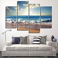 XrsArt 4 pezzo moderno Stampato Sea Wave pittura Cuadros su tela Paesaggio marino Paesaggio Galleria di Foto da soggiorno (nessuna struttura) Senza cornice FCa24 48 pollici x28