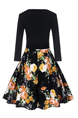 YMING Femme Robe Vintage Années 50 Robe de Soirée Cocktail Swing Manches Longue Robe Midi Noir,Fleur Jaune
