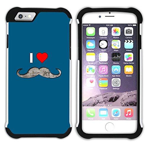 Graphic4You Mustache Schnurrbart Lustig Design Hart + Weiche Kratzfeste Hülle Case Schale Tasche Schutzhülle für Apple iPhone 6 / 6S Design #5