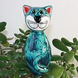 Tangoo Keramik Katze MINI türkis Effektglasur mit Sprenkeln