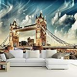 Oficina Den Sala de estar Contexto Murales de pared Mural de arte europeo Papel tapiz de tela de seda estéreo 3D Puente de Londres (W)200x(H)140cm