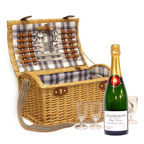 4 Person Luxury Stretford Picnic Basket with Personalised 750ml Champagne and Accessories - Gift ideas for Birthday, Anniversary and Congratulations Presents