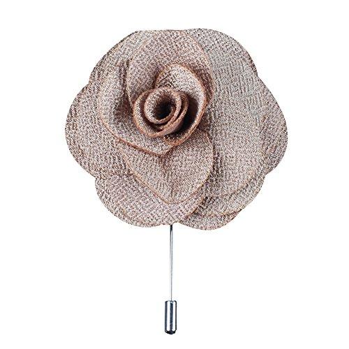 Soleebee NS001A Ansteckblumen Herren Handgefertigt Revers Pin Blume Set im Knopfloch Schläger Revers Krawatte Brosche Kamelie Boutonniere für Anzug (Hellbraun)