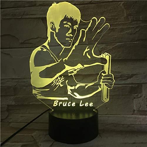 Bruce Lee Nunchakus Figur 3D Led Nachtlicht 7 Farben Ändern Jungen Kind Kinder Baby Geschenke Chinesische Kung Fu Schreibtischlampe Schlafzimmer Fernbedienung
