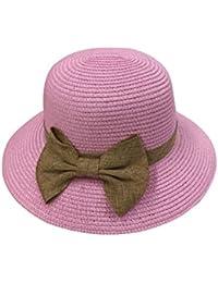 JTC(TM) Women's Straw Paper Bowknot Sun Derby Hat Summer Beach Folding Cap