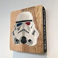Guerre stellari, Star Wars Stormtrooper Immagine Handmade Stencil Graffiti Painting on Ash 9 x 10cm - Regalo per lui, vincitore del capannone dell'anno