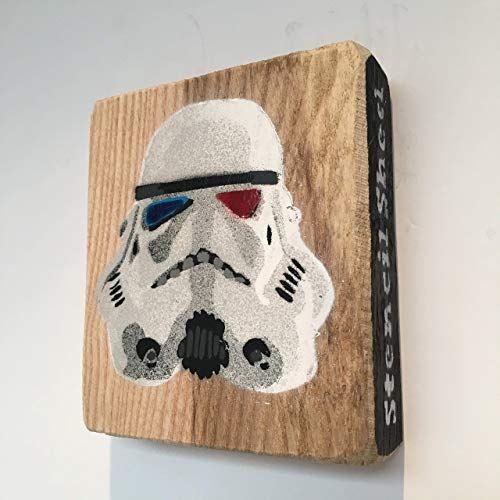 Krieg der Sterne, Sturmtruppe, Star Wars Stormtrooper Bild handgemachte Schablone Graffiti-Malerei auf Asche 9 x 10 cm - Geschenk für ihn, von Schuppen des Jahres - Asche Kostüm