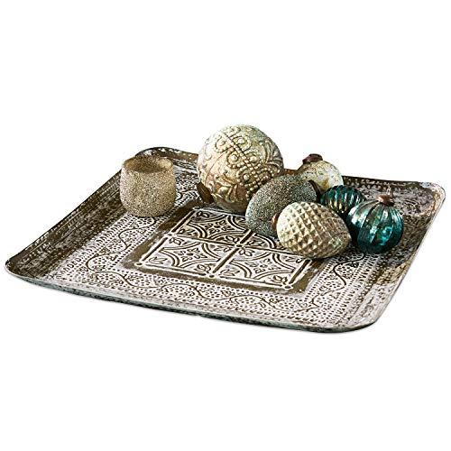 Loberon Tablett Kelowna, Küchen-Accessoires, Aluminium, H/B ca. 45/45 cm, Bronze