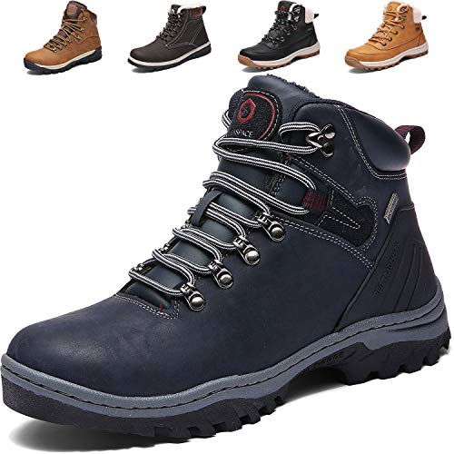 SIXSPACE Herren Winterstiefel Warm Gefütterte Winterschuhe Outdoor Schneestiefel Wanderschuhe Rutschfeste Arbeitsschuhe Winter Boots (Blau 46 EU)
