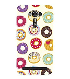 Colourful Doughnuts Wallpaper 3D Hard Polycarbonate Designer Back Case Cover for Asus Zenfone 2 Laser ZE550KL (5.5 INCHES)