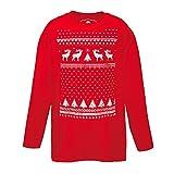 Kinder Rentier Weihnachts-Langarmshirt - Rot (S - Age 5/6)