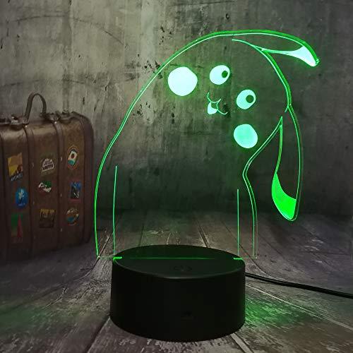 La ilusión óptica de la lámpara visual 3d de wangZJ llevó la luz de la noche/la lámpara del escritorio del usb / 7 lámparas de los colores/regalo de los niños /Pokemon de Pikachu