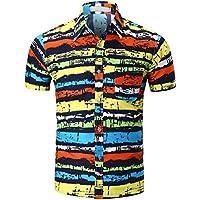 Hombres camiseta,Sonnena ❤️ ❤️ ❤️ La blusa verano superior de manga corta delgada ocasional de los hombres de la personalidad imprimió la blusa moda ropa de Actividades al aire libre (XL, C)
