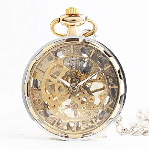 Q store Pocket watch Luxus Trend Vergoldet Transparent Hohl Herren Damen Uhr Persönlichkeit ohne Deckel Mechanische Taschenuhr