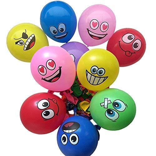 100PCS 12 'Universo Emoji Balloons Globos de látex de expresión de cara sonriente para la boda de cumpleaños Decoraciones del Partido con 8 colores diferentes