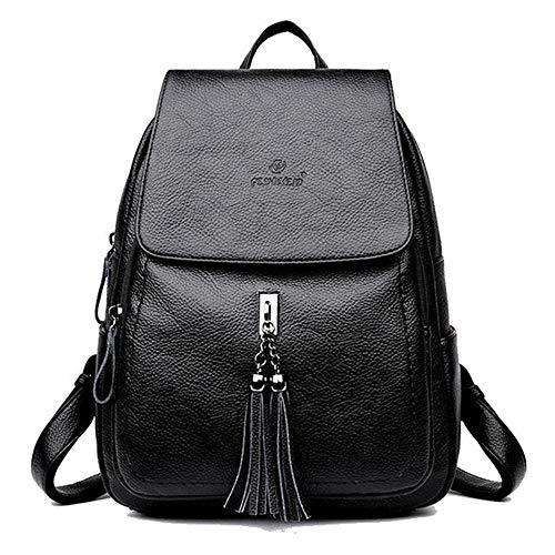 Frauen Schwarz Echtes Leder Rucksack Geldbörse Damen Quaste College Schultasche Weiblich Blau Reise Umhängetasche Mode Daypack für Mädchen Weinrot (schwarz)