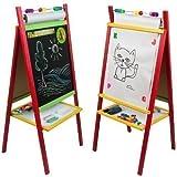 4U® Standkindertafel 98x45cm Papierrolle Abakus Standtafel Kindertafel Magnettafel Maltafel