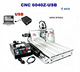 CNC Router Machine Engraving Machine CNC Milling Machine 6040Z 4 Axis Drilling Desktop Large 3D Engraving 1.5KW Inverter (6040Z (60x40cm)4 Axis)