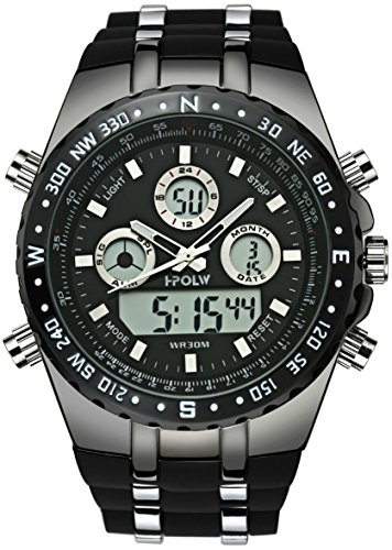 Mens-Analogue-Digital-Sports-Watch-Men-Tough-Military-Big-Face-Waterproof-Electric-LED-Digital-Watch-with-Stopwatch-Gents-Army-Shock-Resistant-Casual-Wrist-Watches-with-Black-Rubber-Band
