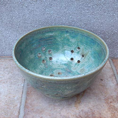 Berry bowl or colander hand thrown pottery ceramic stoneware handmade wheelthrown serving drainer