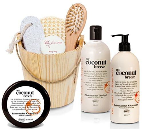 "BRUBAKER Happiness\""My Coconut Breeze\"" Body Lotion, Duschgel, Körperbutter Kokos und Miniatur Kosmetik Set im Holzkübel"