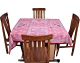 Chhipa Square Table Cover Set Pink Flowe...