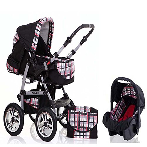 "Karierte Wickeltasche (15 teiliges Qualitäts-Kinderwagenset 3 in 1 ""FLASH"": Kinderwagen + Buggy + Autokindersitz – all inklusive Paket in Farbe SCHWARZ-ROT-KARIERT)"