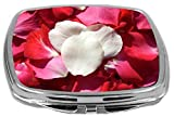 Rikki Knight Compact Mirror, Red and White Rose Petals
