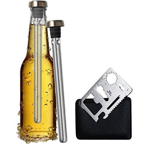 Original Regalo 2 Enfriadores de Botella Cerveza y Abridor Multifunción - Accesorio Utensilio Acero Inoxidable, Idea San Valentín Hombre Padre Hermano Amigo Divertido Frikis Especiales