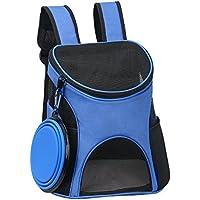Ewolee Portador para Mascotas Perros Gatos Pequeños 4kg, Mochila para Llevar Perros, Bolso de Transporte para Animales al Aire Libre con Cuenco Plegable Silicona - Azul