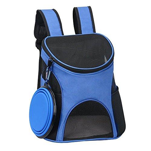 Ewolee zaino per cani piccola taglia, zaino trasporto cane gatti, zaino per animali fino a 4kg con super grande ciotola pieghevole e un moschettone come un dono - blu