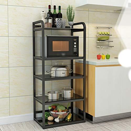 Kitchen furniture - Support multicouche de four à micro-ondes d'étagère matérielle en verre trempé multifonctionnel de ménage WXP (Couleur : NOIR, taille : Five)