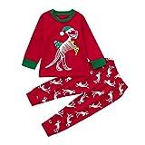 Jimmackey Natale Unisex Vestiti Stampa Dinosauro Ragazzi Ragazze Cime & Pantaloni Natalizi Pigiami Abiti Set (Rosso #1, 2 Anni)