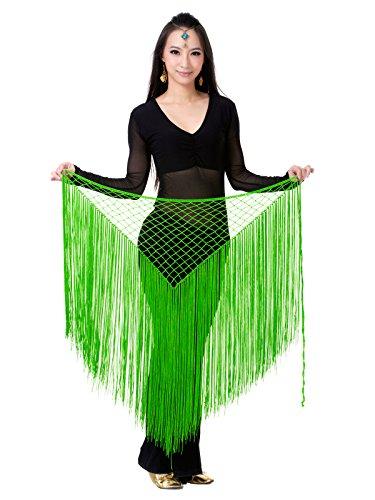 Dance Fairy Frauen Bauchtanz Hüfte Schal Verpackungs Pailletten Franse Troddel Tanz Rock Tanz Kostüm Zubehör grün (Orientalischen Kostüme Tanz Zubehör Und)