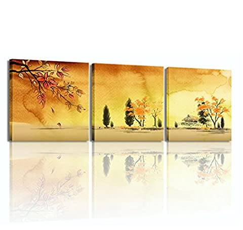 SUN-Yellow Stretched Canvas Art Fantastique Peinture Décoration Rhino 3 pièces / set , 50x50x3