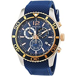 Nautica Men's Quartz Watch with Chronograph Quartz Leather NAI16502G