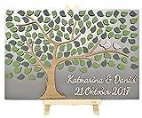 Livingstyle & Wanddesign 3D Baum aus Holz zur Hochzeit mit Namen und Datum mit Blättern und Vogelpaar (80 Stück)