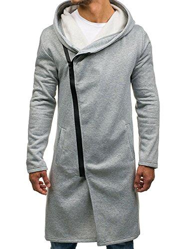 BOLF Herren Kapuzenpullover Sweatjacke mit Kapuze Sweatshirt Pullover Hoodie Lang Mix 1A1 Grau_2037
