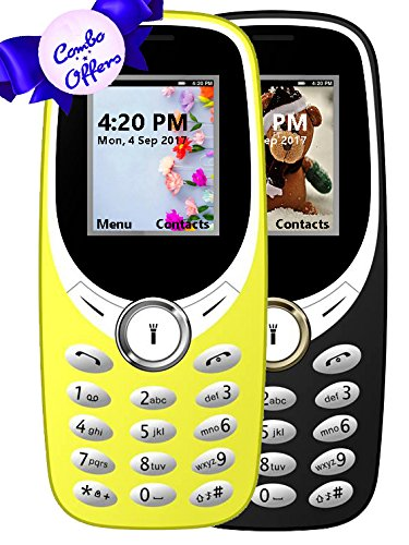 I KALL K31 Dual Sim 1.8 Inch Display COMBO OF TWO Basic Feature Mobile Phone With Bluetooth, GPRS, FM Radios, Flash Light And 1000 Mah Battery Capacity- Black & Yellow