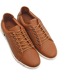 ROSSO BRUNELLO Men's Brown Sneakers Running Shoes
