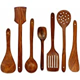 India's Big Shop Wooden Spoon Set Of 7 | 2 Frying, 1 Serving, 1 Spatula, 1 Chapati Spoon, 1 Desert, 1 Rice,
