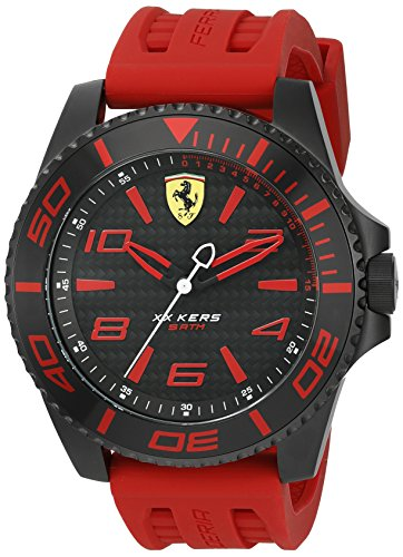 Scuderia Ferrari Men's 'XX Kers' Quartz Stainless Steel and Silicone Casual Watch, Color Red (Model: 0830308)
