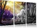 Einhorn im Märchenwald B&W Detail 3-Teiler Leinwandbild 120x80 Bild auf Leinwand, XXL riesige Bilder fertig gerahmt mit Keilrahmen, Kunstdruck auf Wandbild mit Rahmen, gänstiger als Gemälde oder Ölbild, kein Poster oder Plakat