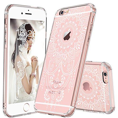 MOSNOVO iPhone 6s Hülle, iPhone 6s Case, Henna Mandala Blumen Weiß Muster Transparent TPU Bumper mit Hart Plastik Durchsichtige Schutzhülle für Apple iPhone 6 6s (4,7 Zoll) (Mandala Henna Tattoo) -