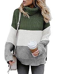 ShallGood Mujer Otoño E Invierno Jersey Long Pullover Suéter Punto Texturizado con Cuello Alto Elegante Clásico Suéter Manga Larga Suelto Jumper Tops