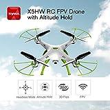 MachinYeseed Syma X5HW RC Drone 4CH mit WiFi Kamera Live Video Altitude Hold Headless-Modus 3D Flip RTF Fernbedienung Spielzeug für FPV weiß