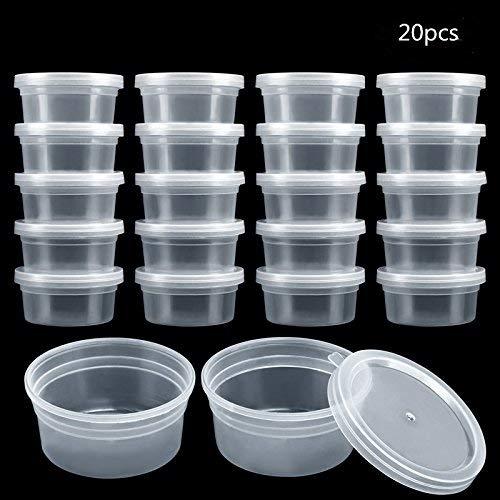 GWHOLE 20 pezzi Slime Contenitore, Contenitori Schiuma palla di Plastica con Coperchi per 50 g di Slime