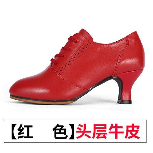 Wuyulunbi @ Chaussures De Danse Latine Chaussures Souples Gules Bas Chaussures